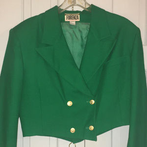 Vintage Emerald Green Cropped Jacket